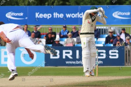 Usman Khawaja of Australia plays a short ball during the Tour Match match between Derbyshire County Cricket Club and Australia at the Pattonair County Ground, Derby