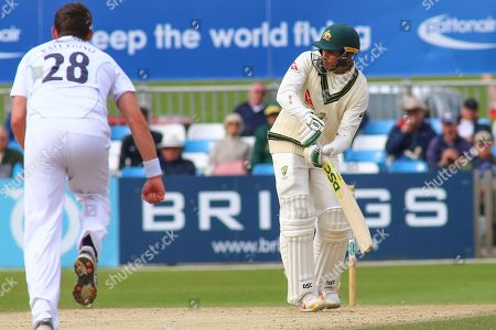 Usman Khawaja of Australia plays the ball off his legs during the Tour Match match between Derbyshire County Cricket Club and Australia at the Pattonair County Ground, Derby