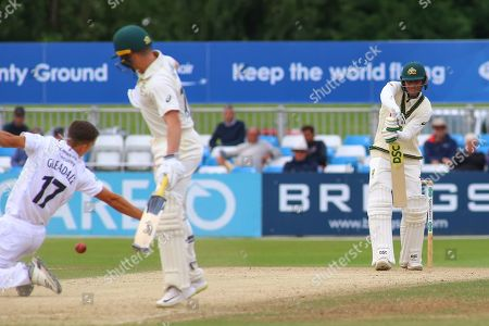 Usman Khawaja of Australia gives Alfie Gleadall of Derbyshire a half chance of a catch during the Tour Match match between Derbyshire County Cricket Club and Australia at the Pattonair County Ground, Derby