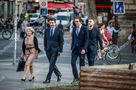 French Member of the La Republique En Marche (LaREM) party and candidate for Paris' 2020 Municipal Election Benjamin Griveaux (2-L) arrives, with his campaign staff members Pacome Rupin (R) and Carole Diamant (L), at a press conference in Paris, France, 29 August 2019.