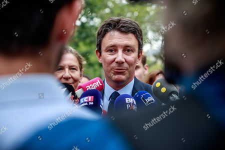 French Member of the La Republique En Marche (LaREM) party and candidate for Paris' 2020 Municipal Election Benjamin Griveaux speaks to the press as part of his campaign in Paris, France, 29 August 2019.