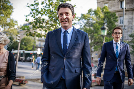 French Member of the La Republique En Marche (LaREM) party and candidate for Paris' 2020 Municipal Election Benjamin Griveaux (C) and his campaign director Pacme Rupin (R) arrive at a press conference in Paris, France, 29 August 2019.