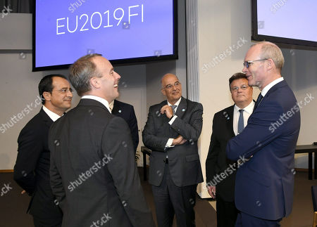 Cypriot Foreign Minister Nikos Christodoulides, British Foreign Secretary and First Secretary of State Dominic Raab, Greek Foreign Minister Nikos Dendias, Foreign Minister Linas Linkevicius of Lithuania and Irish Foreign Minister Simon Coveney attend the Informal Meeting of EU Foreign Ministers