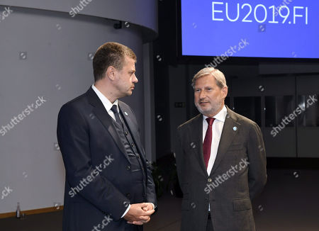 Estonian Foreign minister Urmas Reinsalu and European Commissioner for European Neighbourhood Policy and Enlargement Negotiations Johannes Hahn attend the Informal Meeting of EU Foreign Ministers