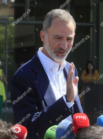 King Felipe VI of Spain addresses the media as he leaves after visiting his father Spanish king emeritus Juan Carlos at Quiron Hospital in Pozuelo de Alarcon, Madrid, Spain, 29 August 2019. Emeritus king Juan Carlos recovers in hospital from a triple bypass surgery last 24 August.