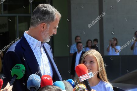 King Felipe VI of Spain (L) and his daughter Infanta Sofia (R) address the media as he leaves after visiting his father Spanish king emeritus Juan Carlos at Quiron Hospital in Pozuelo de Alarcon, Madrid, Spain, 29 August 2019. Emeritus king Juan Carlos recovers in hospital from a triple bypass surgery last 24 August.