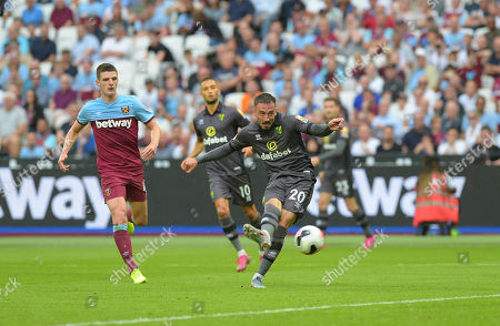 A big miss for Josip Drmic of Norwich during the West Ham vs Norwich City Premier League match at the London Stadium Saturday 31st August 2019