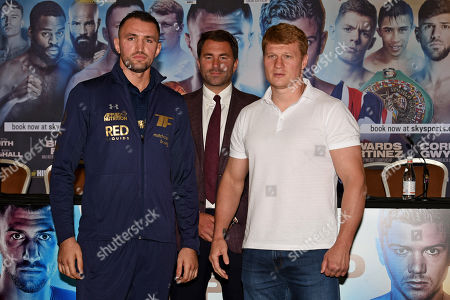 Hughie Fury (L), Eddie Hearn and Alexander Povetkin during a Press Conference at the Canary Riverside Plaza Hotel on 29th August 2019