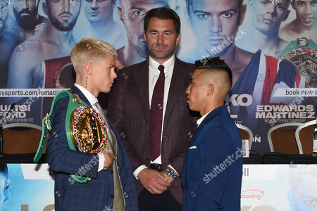 Charlie Edwards (L), Eddie Hearn and Julio Cesar Martinez Aguilar during a Press Conference at the Canary Riverside Plaza Hotel on 29th August 2019
