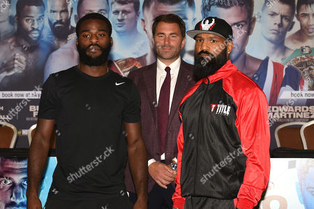 Joshua Buatsi (L), Eddie Hearn and Ryan Ford during a Press Conference at the Canary Riverside Plaza Hotel on 29th August 2019