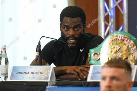 Joshua Buatsi during a Press Conference at the Canary Riverside Plaza Hotel on 29th August 2019