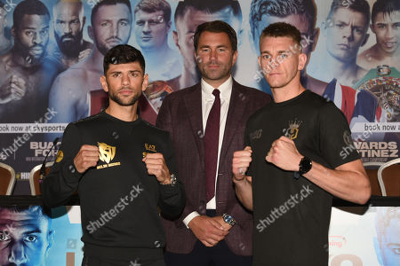 Joe Cordina (L), Eddie Hearn and Gavin Gwynne during a Press Conference at the Canary Riverside Plaza Hotel on 29th August 2019