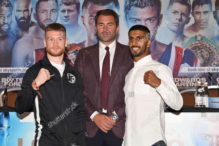 James Tennyson (L), Eddie Hearn and Atif Shafiq during a Press Conference at the Canary Riverside Plaza Hotel on 29th August 2019