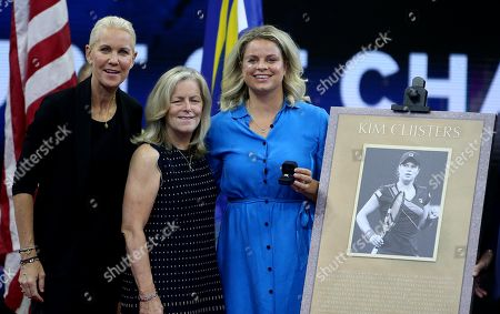 Former Belgian Player Kim Clijsters pictured during a ceremony celebrating her induction into the US Open's Court of Champions in the presence of ESPN's Rennae Stubbs and USTA executives Patrick Galbraith, Gordon Smith and Stacey Allaster