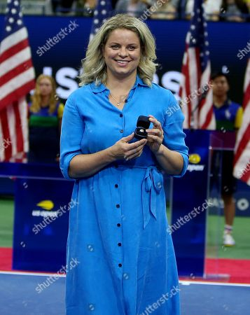Former Belgian Player Kim Clijsters pictured during a ceremony celebrating her induction into the US Open's Court of Champions in the presence of ESPN's Rennae Stubbs and USTA executives Patrick Galbraith, Gordon Smith and Stacey Allaster.