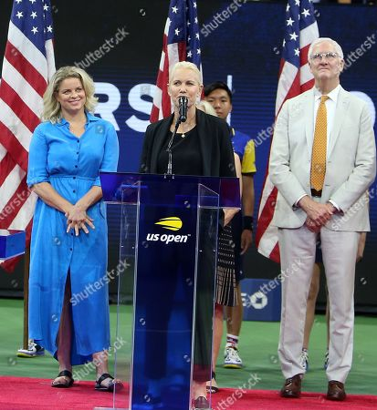 Stock Image of Former Belgian Player Kim Clijsters pictured during a ceremony celebrating her induction into the US Open's Court of Champions in the presence of ESPN's Rennae Stubbs and USTA executives Patrick Galbraith, Gordon Smith and Stacey Allaster.