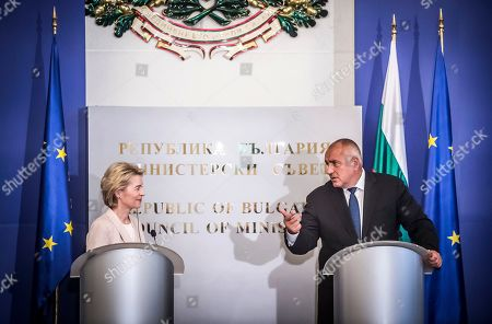 Bulgarian Prime Minister Boyko Borissov (R) welcomes President-elect of the European Commission Ursula von der Leyen (L) during their official meeting in Sofia, Bulgaria, 29 August 2019. President of the European Commission Ursula von der Leyen arrived for an official visit to Sofia.
