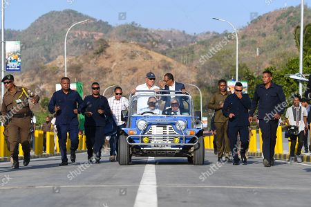 Former President of East Timor and Nobel Peace Prize Laureate Jose Ramos Horta drives his car over the newly inaugurated bridge named after former Indonesian President Bacharuddin Jusuf Habibie in Dili, East Timor, 29 August 2019. East Timor - Timor-Leste- is celebrating the 20th anniversary of its independence from Indonesia on 30 August 2019.