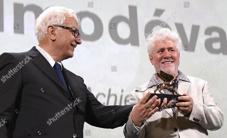 Pedro Almodovar (R) poses after he received the Golden Lion for Lifetime Achievement Award from Venice Biennale President Paolo Baratta (L) during the 76th annual Venice International Film Festival, in Venice, Italy, 29 August 2019. The festival runs from 28 August to 07 September.