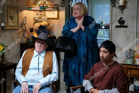 Ernest Adams as Eddie, Louie Anderson as Christine Baskets and Erik Argote as Sleepy Gomez