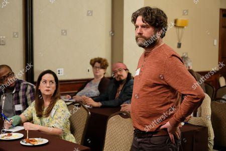 Martha Kelly as Martha Brooks and Zach Galifianakis as Chip Baskets