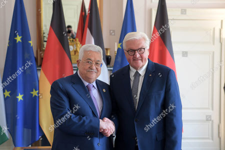 Germany President Frank-Walter Steinmeier welcomes Palestinian President Mahmoud Abbas, at the guest house of the Foreign Office Villa Borsig in Berlin
