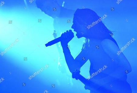 PVRIS lead singer Lyndsey Gunnulfsen during a concert.
