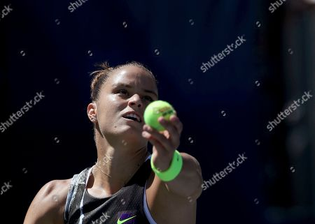 Maria Sakkari, of Greece, serves to Peng Shuai, of China, during the second round of the US Open tennis championships, in New York