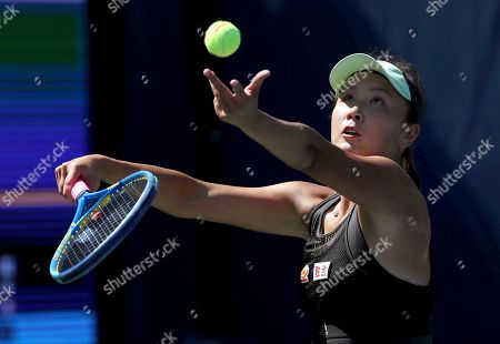 Peng Shuai, of China, serves to Maria Sakkari, of Greece, during the second round of the US Open tennis championships, in New York