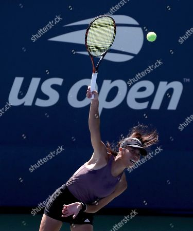 Hsieh Su-Wei, of Taiwan, serves to Karolina Muchova, of the Czech Republic, during the second round of the US Open tennis championships, in New York