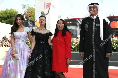 Saudi Arabian actresses Mila Al-Zahrani and Dhay, Saudi director Haifaa Al-Mansour and Saudi actor Khalid Abdulrhim arrive for the premiere of 'The Perfect Candidate' during the 76th annual Venice International Film Festival, in Venice, Italy, 29 August 2019. The movie is presented in the official competition 'Venezia 76' at the festival running from 28 August to 07 September.