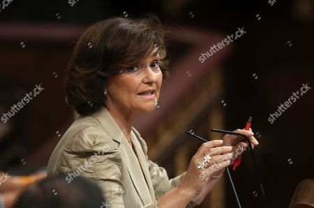 Spanish acting Vice president Carmen Calvo attends an extraordinary plenary session on the Open Arms crisis at the Spanish Lower House in Madrid, Spain, 29 August 2019. The main parliamentary opposition groups will evaluate PSOE's (Spanish Socialist Workers Party) management of the humanitarian ship situation, including interventions of Cayetana Alvarez de Toledo (Popular Party), Ines Arrimadas (Ciudadanos) and Santiago Abascal (Vox).