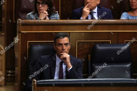 Spanish acting Prime Minister Pedro Sanchez attends an extraordinary plenary session on the Open Arms crisis at the Spanish Lower House in Madrid, Spain, 29 August 2019. The main parliamentary opposition groups will evaluate PSOE's (Spanish Socialist Workers Party) management of the humanitarian ship situation, including interventions of Cayetana Alvarez de Toledo (Popular Party), Ines Arrimadas (Ciudadanos) and Santiago Abascal (Vox).