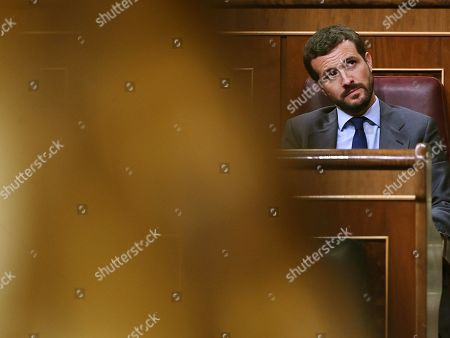 Spanish Popular Party leader Pablo Casado attends an extraordinary plenary session on the Open Arms crisis at the Spanish Lower House in Madrid, Spain, 29 August 2019. The main parliamentary opposition groups will evaluate PSOE's (Spanish Socialist Workers Party) management of the humanitarian ship situation, including interventions of Cayetana Alvarez de Toledo (Popular Party), Ines Arrimadas (Ciudadanos) and Santiago Abascal (Vox).