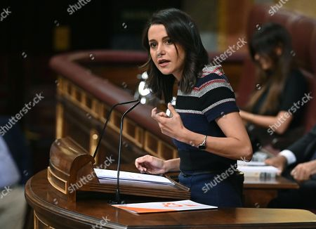 Spanish Ciudadanos spokesperson Ines Arrimadas speaks during an extraordinary plenary session on the Open Arms crisis at the Spanish Lower House in Madrid, Spain, 29 August 2019. The main parliamentary opposition groups will evaluate PSOE's (Spanish Socialist Workers Party) management of the humanitarian ship situation, including interventions of Cayetana Alvarez de Toledo (Popular Party), Ines Arrimadas (Ciudadanos) and Santiago Abascal (Vox).