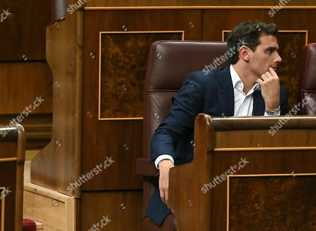 Spanish Ciudadanos leader Albert Rivera attends an extraordinary plenary session on the Open Arms crisis at the Spanish Lower House in Madrid, Spain, 29 August 2019. The main parliamentary opposition groups will evaluate PSOE's (Spanish Socialist Workers Party) management of the humanitarian ship situation, including interventions of Cayetana Alvarez de Toledo (Popular Party), Ines Arrimadas (Ciudadanos) and Santiago Abascal (Vox).