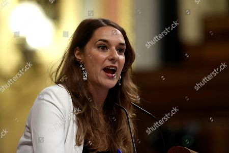 Spanish Unidas Podemos party deputy Noelia Vera speaks during an extraordinary plenary session on the Open Arms crisis at the Spanish Lower House in Madrid, Spain, 29 August 2019. The main parliamentary opposition groups will evaluate PSOE's (Spanish Socialist Workers Party) management of the humanitarian ship situation, including interventions of Cayetana Alvarez de Toledo (Popular Party), Ines Arrimadas (Ciudadanos) and Santiago Abascal (Vox).