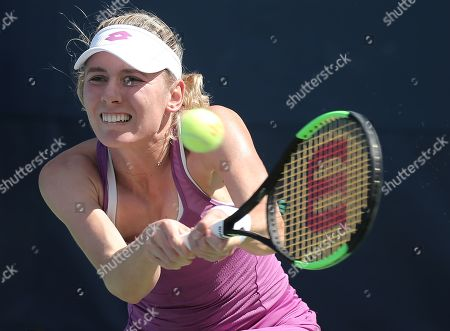 Ekaterina Alexandrova of Russia hits a retutn to Zhang Shuai of China during their match on the fourth day of the US Open Tennis Championships the USTA National Tennis Center in Flushing Meadows, New York, USA, 29 August 2019. The US Open runs from 26 August through 08 September.