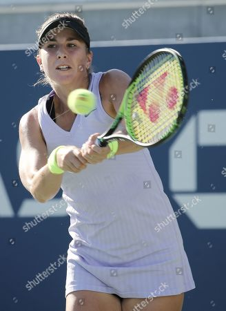 Belinda Bencic of Switzerland hits a return to Alize Cornet of France during their match on the fourth day of the US Open Tennis Championships the USTA National Tennis Center in Flushing Meadows, New York, USA, 29 August 2019. The US Open runs from 26 August through 08 September.