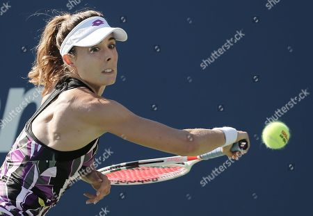 Alize Cornet of France hits a return to Belinda Bencic of Switzerland during their match on the fourth day of the US Open Tennis Championships the USTA National Tennis Center in Flushing Meadows, New York, USA, 29 August 2019. The US Open runs from 26 August through 08 September.