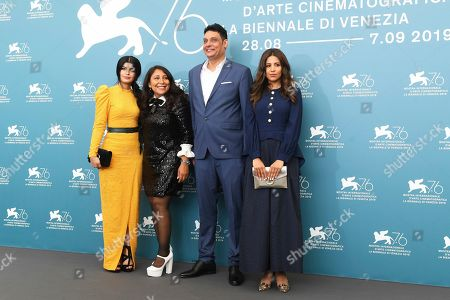 Dhay, Haifaa Al Mansour, Khalid Abdulrhim, Mila Alzahrani. Actress Dhay, from left, director Haifaa Al Mansour, actors Khalid Abdulrhim and Mila Alzahrani pose for photographers at the photo call for the film 'The Perfect Candidate' at the 76th edition of the Venice Film Festival in Venice, Italy