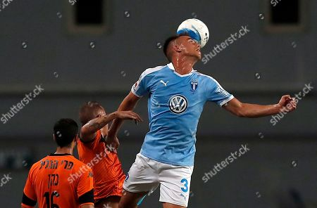 Jonas Knudsen (R) of Malmo in action during the UEFA Europa League playoff second leg  soccer match between Bnei Yehuda and Malmo FF in Petah Tikva, Israel , 29 August 2019.