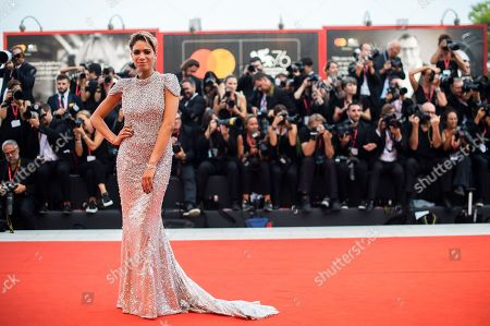 Elodie Di Patrizi. Singer Elodie poses for photographers upon arrival at the premiere of the film 'Marriage Story' at the 76th edition of the Venice Film Festival, Venice, Italy