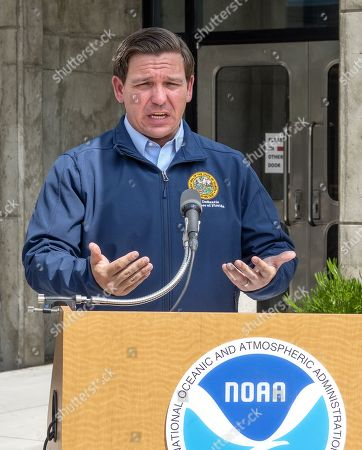 Florida's Governor Ron DeSantis speaks with the media after his visit to the National Hurricane Center to receive a briefing regarding Hurricane Dorian in Miami, Florida, USA, 29 August 2019. Hurricane Dorian is expected to become category four hurricane by landfall on 01-02 September.