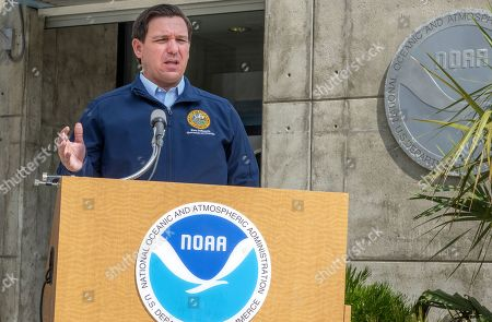 Stock Picture of Florida's Governor Ron DeSantis speaks with the media after his visit to the National Hurricane Center to receive a briefing regarding Hurricane Dorian in Miami, Florida, USA, 29 August 2019. Hurricane Dorian is expected to become category four hurricane by landfall on 01-02 September.