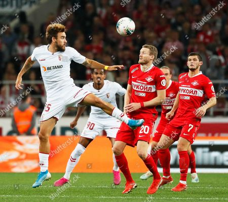 Andre Schuerrle (2-R) of Spartak in action against Nuno Sequeira (L) of Braga during the UEFA Europa League playoff, second leg soccer match between Spartak Moscow and Sporting Braga in Moscow, Russia, 29 August 2019.