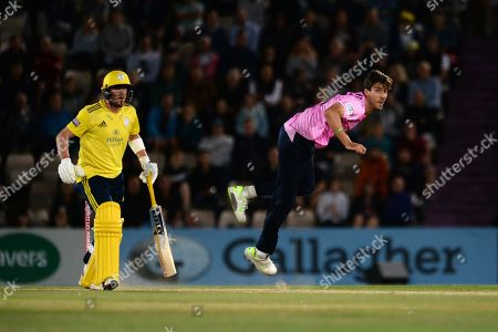 Stock Image of Steven Finn of Middlesex bowling during the Vitality T20 Blast South Group match between Hampshire County Cricket Club and Middlesex County Cricket Club at the Ageas Bowl, Southampton