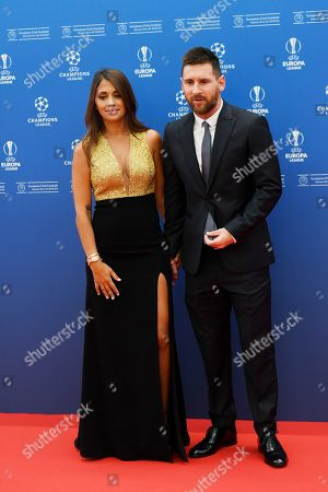 Stock Picture of Lionel Messie of Barcelona and his wife Antonella Roccuzzo arrive for the UEFA Champions League 2019-20 Group Stage draw in Monaco, 29 August 2019.