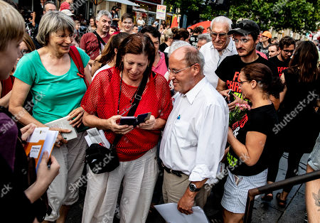The President of the Party of the European Left, Gregor Gysi (2nd-R) attends during an election campaign event of the Left party (Die Linke)  in Dresden, Germany, 29 August 2019. Regional elections in the German federal state of Saxony will be held on 01 September 2019.