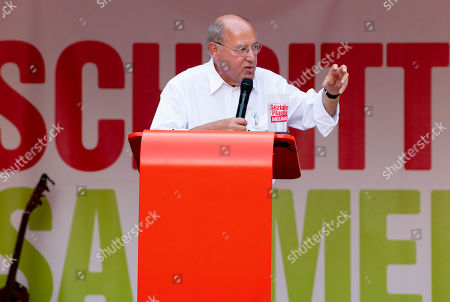The President of the Party of the European Left, Gregor Gysi speaks during an election campaign event of the Left party (Die Linke)  in Dresden, Germany, 29 August 2019. Regional elections in the German federal state of Saxony will be held on 01 September 2019.